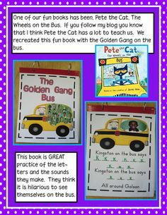 Pete the Cat Wheels on the Bus Song.want to make this class book at the start of the year Apple Activities, Name Activities, Writing Activities, Writing Ideas, Kindergarten Blogs, Kindergarten Classroom, Classroom Ideas, Kindergarten Writing, Classroom Organization