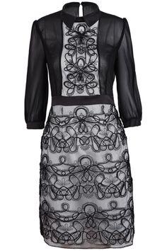 Black Long Sleeve Mesh Yoke Embroidered Dress
