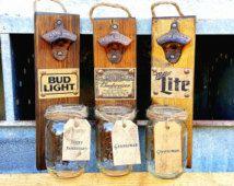Groomsmen Gift, Anniversay Gift, Christmas Gift Idea, Rustic, Wood , Beer Bottle Opener , Budweiser Gift for Dad , Husband Gift ,Nascar Fan