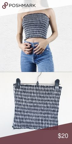 fd88c787174 Brandy Melville black white gingham Cleo tube top No flaws Brandy Melville  Tops Crop Tops Brandy