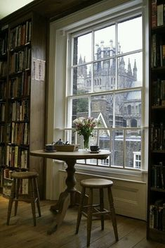 View of Ely Cathedral through the window of my favourite bookshop, Topping & Company Booksellers in Ely, Cambridge, England Interior Exterior, Interior Design, Ely Cathedral, Home Libraries, Window View, Window Seats, Through The Window, My Dream Home, Windows And Doors