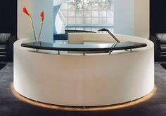 exquisit custom design white round reception desk with black granite transaction counter top