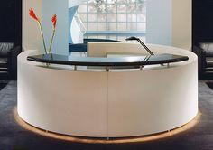 exquisit custom design white round reception desk with black granite transaction counter top