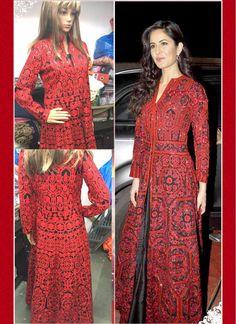 Preferable Katrina Kaif Red and Black Floor Length Anarkali Suit