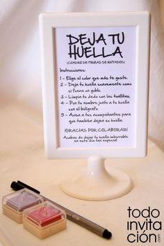 Instrucciones cuadro de firmas  http://www.todoinvitacion.com/products-page/cuadros-de-firmas-con-huellas/