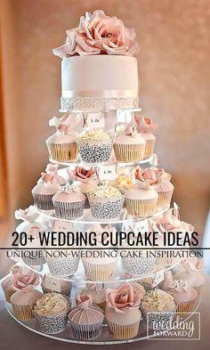 30 totaal unieke bruiloft Cupcake-ideeën ❤ Wedding cupcake contunie to the t . Diy Wedding Cake, Wedding Cakes With Cupcakes, Beautiful Wedding Cakes, Wedding Cake Designs, Cupcake Cakes, Cupcakes Design, Köstliche Desserts, Delicious Desserts, Cupcake Recipes From Scratch