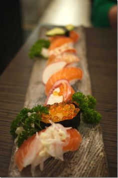 Mixed salmon sushi platter