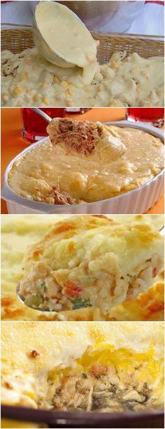 QUER UMA DICA PARA SEU ALMOÇO DE DOMINGO? ESSE ESCONDIDINHO É SIMPLESMENTE DIVINO!! VEJA AQUI>>>Em uma panela coloque a manteiga e a cebola para fritar e coloque a batata, desligue após 2 minutos #receita#bolo#torta#doce#sobremesa#aniversario#pudim#mousse#pave#Cheesecake#chocolate#confeitaria# Lasagna, Carne, Side Dishes, Appetizers, Menu, Pie, Ethnic Recipes, Desserts, Food