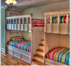 This cozy kids' room has space for four thanks to custom built-in bunks in a sleeping alcove. Turn the bottom bunks into full beds w the heads under and feet out. Then it'll sleep Shared Bedrooms, Awesome Bedrooms, Cool Rooms, Awesome Beds, Bunk Beds With Stairs, Kids Bunk Beds, Bed Stairs, Loft Beds, Bunk Bed Ideas For Small Rooms