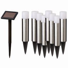 Solar Magic 20cm LED Stainless Steel Solar Rem Pan Bollard Light - 8 Pack I/N 4351074 | Bunnings Warehouse