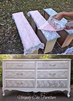 18 Awesome DIY Shabby Chic Furniture Makeover Ideas For Creative Juice Repurposed Furniture Awesome Chic Creative DIY Furniture ideas Juice Makeover shabby Lace Painted Furniture, Repurposed Furniture, Painting Furniture, Vintage Furniture, Bedroom Furniture, Refurbished Furniture, Office Furniture, Stenciling Furniture, Restoring Old Furniture