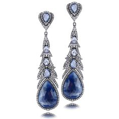 Sutra Sapphire and Diamond Feather Oxidized Drop Earring