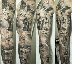 Realistic black and grey sleeve tattoo of Statuary motive by Dmitriy Samohin