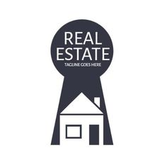 A creative template for a Real Estate logo. A simple background with an illustration of a house and a real estate written in white.