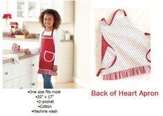 $16.95 ~ Children's REVERSIBLE Red Kitchen Apron Heart Girl's Kitchen Apron NIP