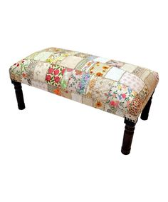 Look at this White & Yellow Patchwork Embroidered Bench on #zulily today!