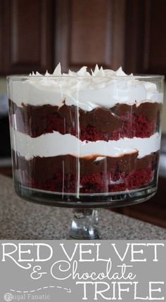 Trifle Enjoy this simple and delicious red velvet trifle recipe. You can easily change some of the ingredients to your liking.Enjoy this simple and delicious red velvet trifle recipe. You can easily change some of the ingredients to your liking. 13 Desserts, Trifle Desserts, Delicious Desserts, Yummy Food, Plated Desserts, Homemade Desserts, Health Desserts, Trifle Bowl Recipes, Trifle Dish