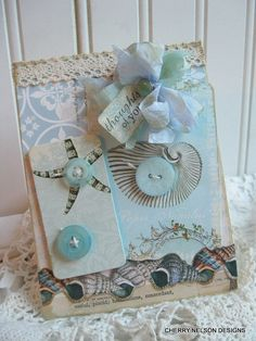 vintage SEASHELL card-THOUGHTS of YOU-sympathy handmade card