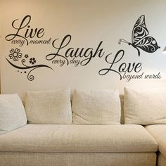 Inspirational Live Laugh Love Quotation Removable Vinyl Wall Art Decals