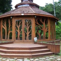 Beautiful wooden gazebo for my future. - Beautiful wooden gazebo for my future. Wooden Gazebo, Backyard Gazebo, Gazebo Roof, Wooden Tree, Outdoor Spaces, Outdoor Living, Outdoor Decor, Hardtop Pavillon, Garden Structures