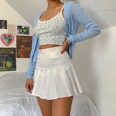 c h i l l a x / sky blue ❀ Indie Outfits, Retro Outfits, Girly Outfits, Cute Casual Outfits, Vintage Outfits, Blue Skirt Outfits, Hipster Outfits, Hipster Clothing, Teenage Outfits