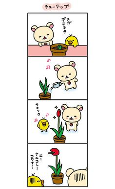 Growing a plant with korilakkuma's and Kiiroitori! Rilakkuma, Sanrio, Aesthetic Wallpapers, Comic Art, Cute Pictures, Iphone Wallpaper, Kawaii, Cartoon, My Favorite Things
