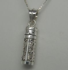 STERLING SILVER CREMATION URN NECKLACE CREMATION JEWELRY CYLINDER MEMORIAL URN
