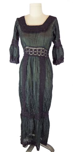 70s Black Mexican Pintuck Maxi Dress Crochet Lace Witch Costume Boho Hippie #Unbranded