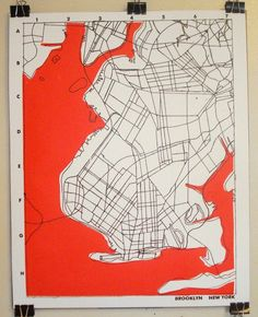 Love this hand screen printed graphic map of Brooklyn. It's also signed and… Illustrations, Illustration Art, Brooklyn Map, Map Quilt, Map Of New York, Map Projects, Map Globe, Architecture Drawings, Poster