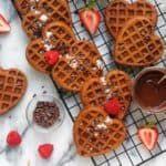 Chocolate Chunk Buckwheat Heart Waffles (vegan, gluten-free) Healthy Vegan Breakfast, Buckwheat, Dessert Recipes, Desserts, Plant Based Recipes, Waffles, Gluten Free, Chocolate, Heart