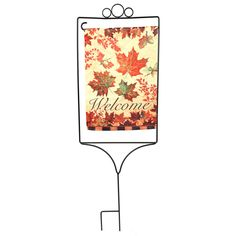 Flag Stand with Suede Leaves
