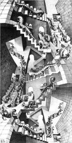 I love mc escher art. Escher Kunst, Mc Escher Art, Escher Drawings, Art Drawings, Op Art, Optical Illusion Wallpaper, Illusion Kunst, India Ink, Fractals