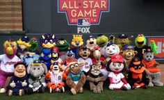 All of the MLB mascots at the 2014 MLB all star game...Can you name them all?