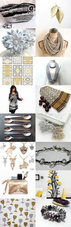 Go for the Gold and Silver by Julia on Etsy- #Fibernique #Etsy #treasury ##black and #white #tota #bag #moses #basket #unique #gifts -Pinned with TreasuryPin.com