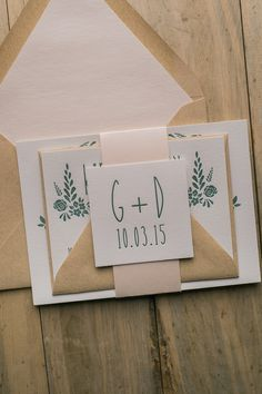 Fabulous Blush and Green Letterpress Wedding Invitations. HADLEY Romantic Collection by Just Invite Me!