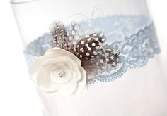Blue Garter  Bridal Garter Something Blue with by louloubell, $26.00--Could probably make it pretty easy