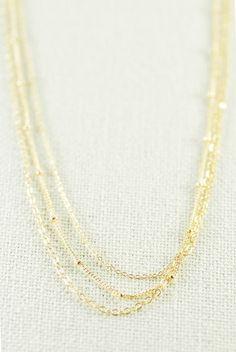Kaiemi necklace - gold triple strand necklace by kealohajewelry https://www.etsy.com/listing/112190730 http://instagram.com/kealohajewelry