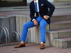 Navy blazer, blue chinos and tan monks.