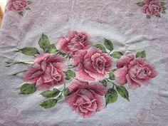 Vintage Cotton Kitchen Table Tablecloth Pink Roses Linen | eBay