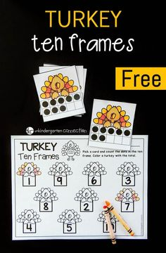 FREE Printable Turkey Ten Frame Math Game - for Kindergarten! This turkey themed ten frame math game is a perfect math center for kids this fall or Thanksgiving! Work on counting, subitizing, and numb Thanksgiving Activities For Kids, Thanksgiving Preschool, Holiday Activities, Kindergarten Math Games, Preschool Math, Math Activities, Turkey Kindergarten, Montessori Preschool, Fall Preschool