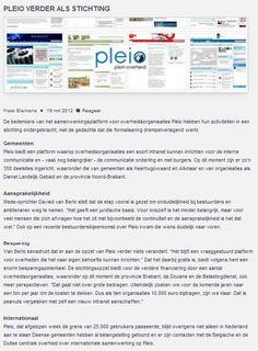 """Pleio verder als stichting - Binnenlands Bestuur: """"Pleio verder als stichting"""" Google Chrome, Columns, Citizen, Blog, Seeds, Blogging"""