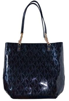 d1d7b06775  michaelkors Michael Kors Black MK Mirror Metallic Jet Set NS Chain Tote  Shoulder Bag Handbag