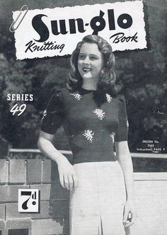 1940s ladys Knitting Patterns. sweater, cardigan, jumper, jacket to fit 32/343 and 36 inch bust PDF copy of an Australian Sun-glo Vintage