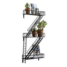Ohana HomeWorks Fire Escape Free Floating Wall Shelf, Black Ladder Shelf for Plants, Urban Decor #lowcountry #AmazonFinds Wall Mounted Corner Shelves, Wall Shelf Decor, Wood Wall Shelf, Solid Wood Shelves, Wood Floating Shelves, Plant Shelves, Display Shelves, Fire Escape Shelf, Loft Wall