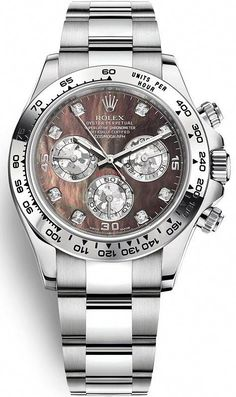 Rolex Oyster Perpetual Cosmograph Daytona White Gold Black Mother-of-Pearl Dial 40 mm Bracelet Watch Reference Presenting the finest Men's Watches collection inspiration sharing. Best gift for men in fine suits. Rolex Watches For Men, Luxury Watches For Men, Cool Watches, Cheap Watches, Stylish Watches For Men, Fine Watches, Women's Watches, Rolex Cosmograph Daytona, Rolex Daytona