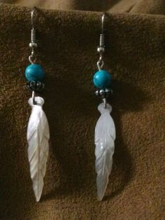 Feather and Turquoise Earrings and Necklace by Charma11 on Etsy, $10.00