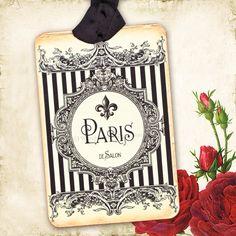 french gift tags fleur de lis paris vintage style black stripes creamy white ornate frame gift wrap decoration set of 4 handmade