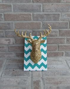 GLAM glitter deer head sign green turquoise and white chevron print with gold deer on Etsy, $30.00