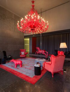 Yoo Panama by Philippe Starck. Industrial designer Philippe Starck has recently completed the interiors of a 56 storey building designed by Bettis-Tarazi Arquitectos located in Panama. Decoration Chic, Decoration Design, Philippe Starck, Estilo Kitsch, Interior Decorating, Interior Design, Beautiful Living Rooms, Red Accents, Plywood Furniture