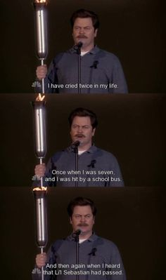 Ron Swanson - a softie for Lil Sebastian.